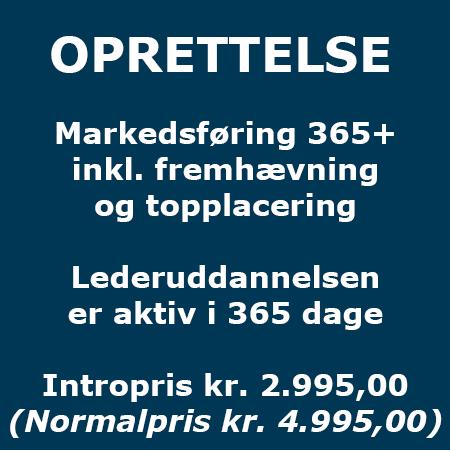 Lederuddannelse - Oprettelse - Markedsføring 365 inkl. fremhævning og topplacering - Produkt - Lederuddannelserne.dk