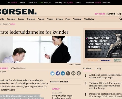 Første lederuddannelse for kvinder - Børsen - Artikel - Lederuddannelserne.dk