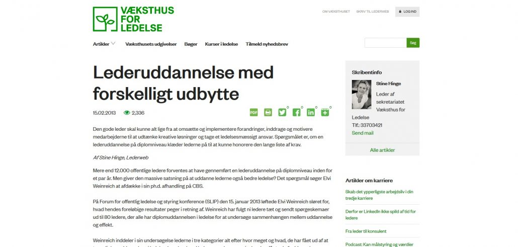 Lederuddannelse med forskelligt udbytte - Væksthus for ledelse - Artikel - Lederuddannelserne.dk