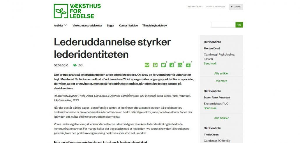 Lederuddannelse styrker lederidentiteten - Væksthus for ledelse - Artikel - Lederuddannelserne.dk