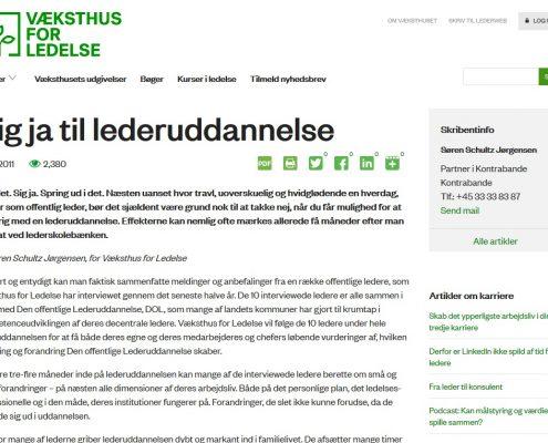 Sig ja til lederuddannelse - Væksthus for ledelse - Artikel - Lederuddannelserne.dk