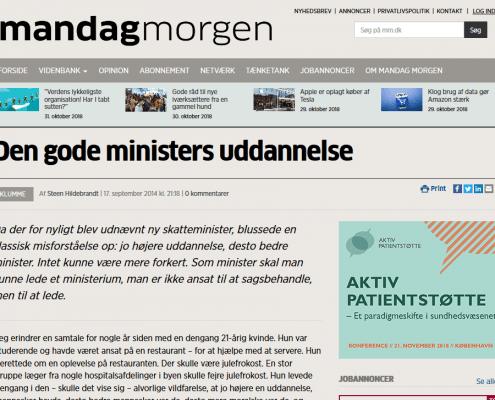 Lederuddannelse - Den gode ministers uddannelse - Artikel - Mandag Morgen - Lederuddannelserne.dk