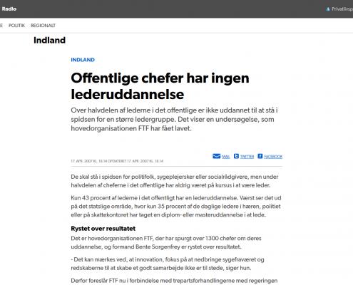 Lederuddannelse - Offentlige chefer har ingen lederuddannelse - Artikel - DR - Lederuddannelserne.dk