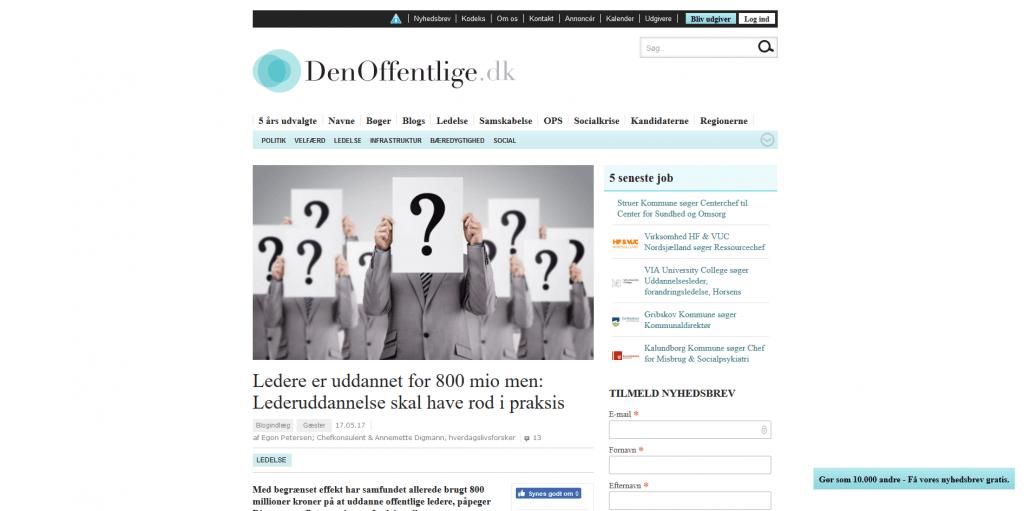 Ledere er uddannet for 800 mio., men Lederuddannelse skal have rod i praksis - Artikel - DenOffentlige - Lederuddannelserne.dk