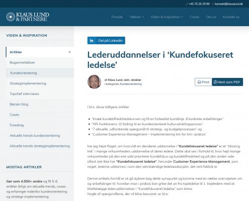 """Lederuddannelser i """"Kundefokuseret ledelse"""" - Klaus Lund Partnere - Artikel - Lederuddannelserne.dk"""